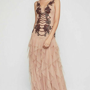 Nude Embroidered Lace Gown Tulle Long Formal Dress